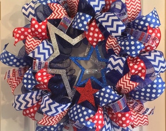 Fourth of July Wreath/ USA Wreath/ 4th of July Deco Mesh Wreath/ Patriotic Wreath/ Red White and Blue Wreath