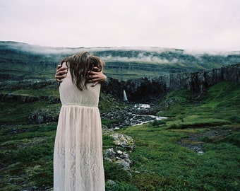 Rachel in lceland. Print with border on 8x10 paper by Ryan Muirhead. Unsigned.