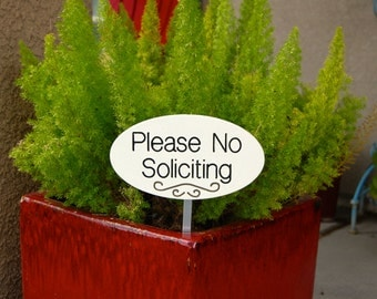 No Soliciting Garden Sign White With Black Engraving Wood Sign