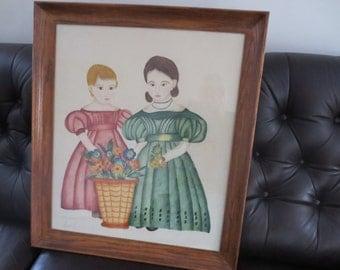 "ORIGINAL FOLK ART-Folk Art Portrait Hand Drawn In Vintage Oak Frame 27"" x 31"" Two Girls With Flowers"