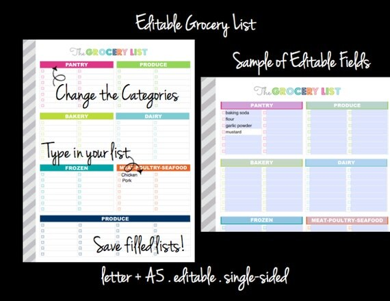 EDITABLE Grocery List Printable Planner Letter Size A5 – Printable Shopping List with Categories