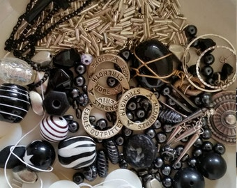 Black, White, and Silver Bead Destash Lot - Lucite and Glass Bead Mix