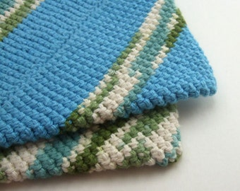 Blue and Green Striped Double Thick Crochet Pot Holders-----set of 2