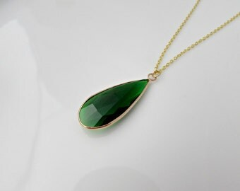 Green Agate Drop Necklace, Agate Pendant, Rose Gold Agate Necklace, Gifts for Girls, UK Seller, Mom Gift, Agate Jewellery, Green Pendant