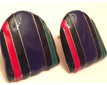 Art Deco style clip-on earrings, Retro Earrings in Red, Navy, Green, Black Stripes
