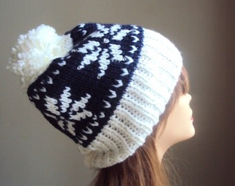 Knit Hat with Pom Pom Snowflake Hat Fair Isle Knit Beanie Winter Hats