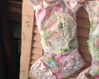 ruffled pink santa stocking