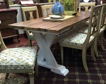 X Base Trestle Dining Table - Antique Wood Top