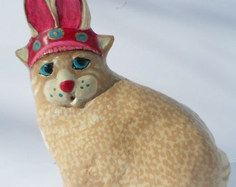 Missy the Easter Kitty - OOAK Whimsical Paper Mache Clay Cat Sculpture