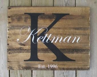 Family Name Sign, Family Established Name Wood Sign, Rustic Pallet Name Sign, Custom Sign, Wedding Registry Gift, Bridal Shower Gift