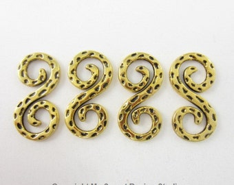 20pcs S Indented Gold Plated Links (F2148)