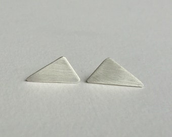 Triangle silver stud earrings