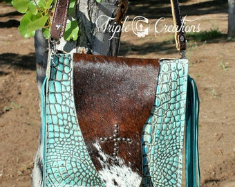 Turquoise Gator and Cowhide Cross body Bag