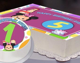 Edible Cake Topper, Tsum Tsum Party, Tsum Tsum Birthday, Tsum Tsum Cake Topper, Minnie Mouse, Disney