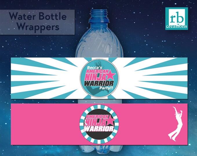 Ninja Warrior Party Water Bottle Wrappers, Girls Ninja Warrior Birthday Party, ANW Party - Digital Printables