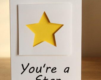 You're a Star - 2 pack of Greetings Cards, congratulations, well done or thank you cards