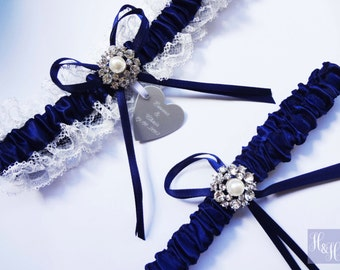 Personalised Elegant Vintage Navy Blue Wedding Bridal Garter set