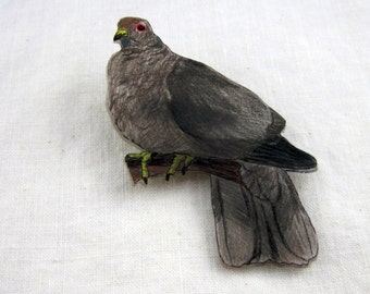Pigeon Pin Shrinky Dink Shrink Plastic Brooch Badge Lapel Pin