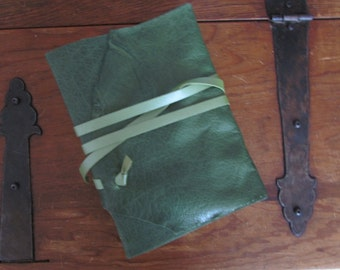 Absinthe. Green leather wrap journal.
