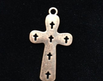 10 Pieces Rustic Cross with Cut out  Crosses Pendant Charms 36x21mm Antique Copper Finish, Corss Charms, 16-20-AC