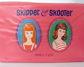 Vintage Skipper Case, 1960's Skipper and Scooter Doll Case, Pink Vinyl Case, Vintage Doll Trunk, Vinyl Doll Case