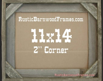 11x14 2 corner rustic barn wood aged weathered reclaimed primitive photo picture frame 11 x 14 unfinished repurposed barnwood frames