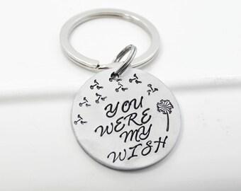 Hand Stamped Dandelion You Were My Wish Keychain