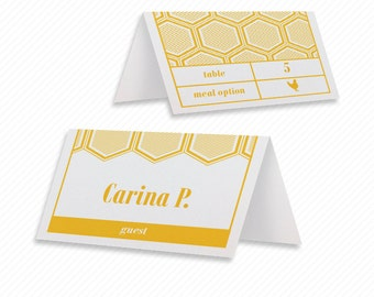 Modern Hexagon Printable Place Cards with Print-at-Home Thank You Card Print-ready Wedding Dinner Menu and Geometric Table Number Card
