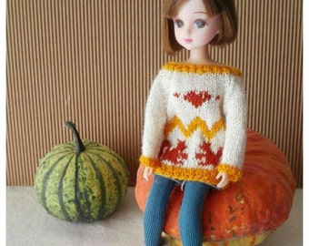 Squirrel Sweater for Blythe, Licca  Doll. Choose the color!