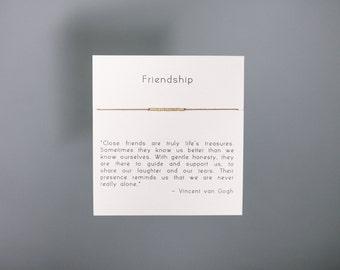 Friendship Bracelet - Gold Friendship Bracelet on Silk - Walnut