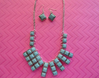 Turquoise tile statement necklace and earring set
