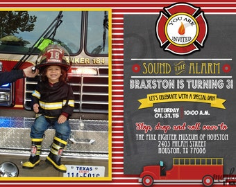 Custom You-Print Digital Firefighter Birthday Invitation