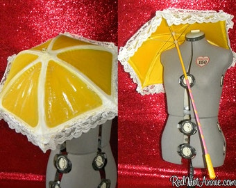 Custom Burlesque Showgirl Hand-Painted Mini Parasol - Various Colors