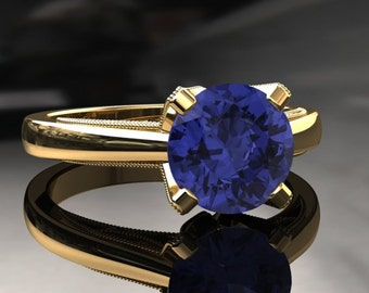 Tanzanite Engagement Ring Tanzanite Ring 14k or 18k Yellow Gold Matching Wedding Band Available W3TANZY