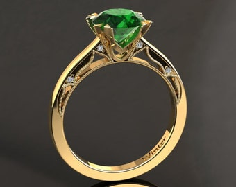 Emerald Engagement Ring Emerald Ring 14k or 18k Yellow Gold Matching Wedding Band Available W22GY