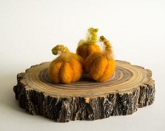 Needle Felted Pumpkins — Set of Three Pumpkins — Orange Decorative Pumpkins — Rustic Fall Decor — Thanksgiving Table Accent — Mt. Marten