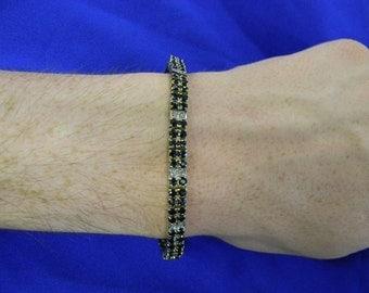 "Sterling Silver 925 Black Onyx Gem Bracelet 7.5"" Long ET 6120"