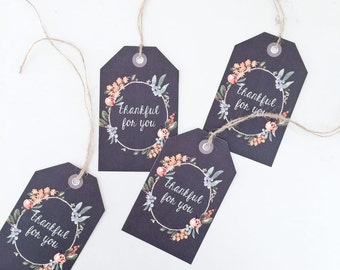 LARGE Chocolate Brown Thanksgiving Gift Tags 4-pack - Hostess Gift or Place Setting Decor
