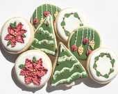 Poinsettia and Wreath Christmas Cookies