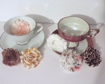 Shabby Chic fabric flowers - 2 1/2 inch - set of 6