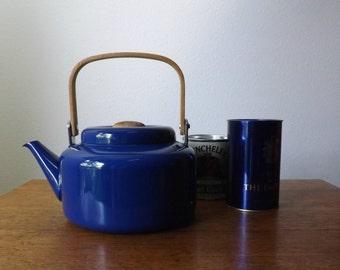 Enamelware Tea Kettle ~ Cobalt Blue ~ 2 Quart ~ Wood Handle and Knob