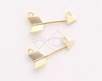 3243024 / Arrow / 16k Matt Gold Plated Brass Connector 9.2mm x 20mm / 0.5g / 2pcs