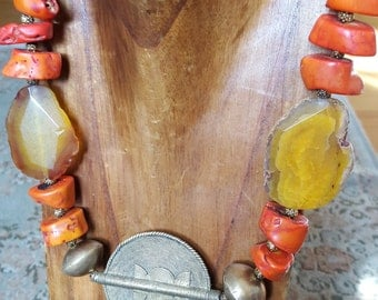 Chunky Necklace/Coral Necklace/Statement Necklace/Tribal Necklace /Exotic Necklace/African Necklace
