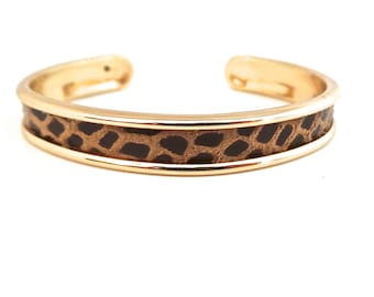 Leather way Leopard Bangle Bracelet