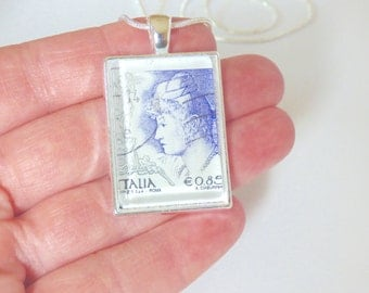 OOAK Goddess Italy Postage Stamp Glass Tile Pendant Necklace Italian Woman Travel Momento Recycled Repurposed Upcycled Material Lion Jewelry