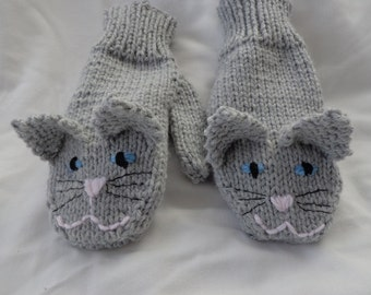 Grey Cat Mittens-children's medium size