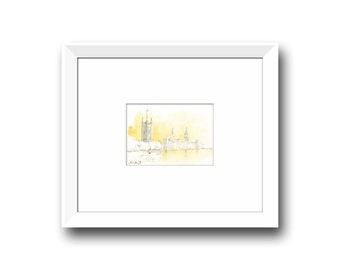 London watercolor painting -London Painting -Cityscape Capital Europe - London art - Watercolor painting & Prints by Juan Bosco