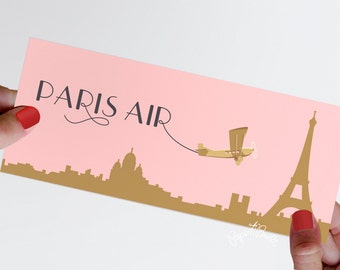 Paris Theme Party Boarding Pass Ticket Jacket, Real Airline Ticket, French, Bridal Shower, Pink, Gold, Rendez vous de Paris, Baby Shower