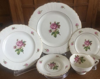 4 Syracuse VICTORIA Moss Rose PLACE SETTINGS 20 Pc Dinnerware Federal Shape