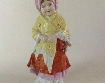 Antique Porcelain Girl w/ Fringed Scarf Figurine Germany 10788